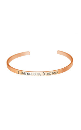 Love You To The Moon Bangle in Rose Gold by White Leaf