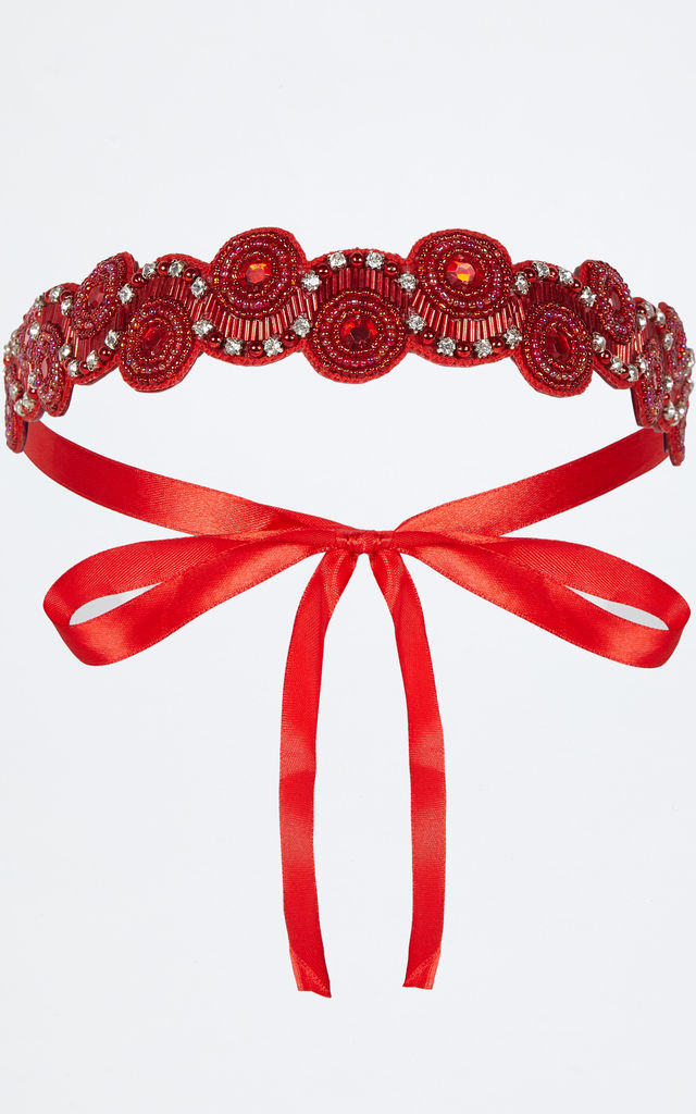 Eliza Flapper Headband in Red by Gatsbylady London