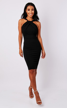 Black Halter Neck Bodycon Dress by Miss Pandora Product photo