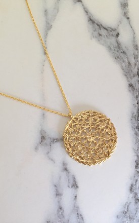Large Pattern Disc Necklace Gold Plated Jewellery by Gold Lunar