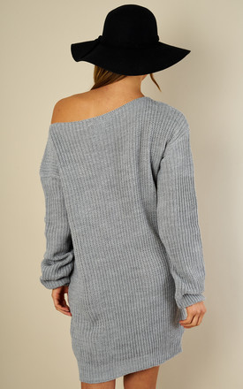 Silver Grey Longline Knitted Jumper Dress by Bella and Blue