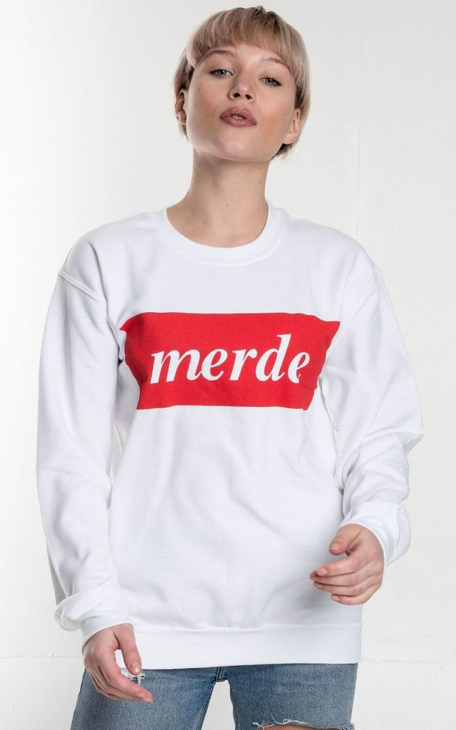 MERDE oversized slogan Jumper in white and red by Adolescent Clothing