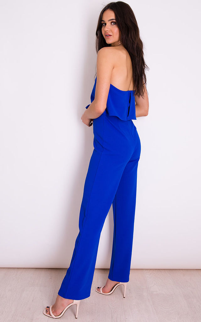 Alice Bandeau Double Layer Jumpsuit Cobalt by Girl In Mind