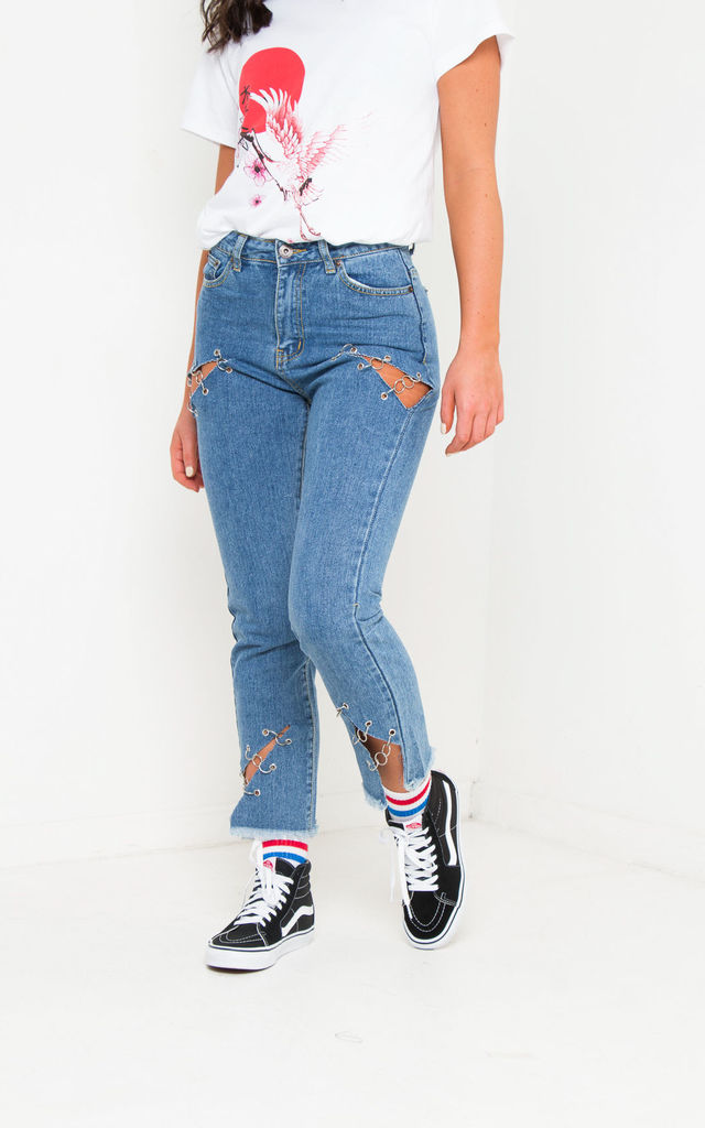 Lax Indigo Mom Jean With Eyelet & Rip Detail by LIQUOR N POKER