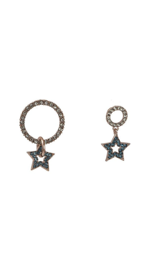 Asymmetric Star Cubic Earrings Navy by DOSE of ROSE