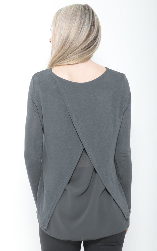 GREY OVERSIZED CROSS BACK KNIT TOP by Aftershock London