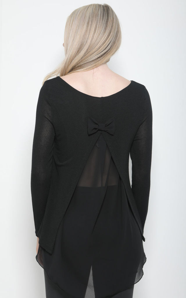 BLACK OVERSIZED BOW BACK KNIT TOP by Aftershock London