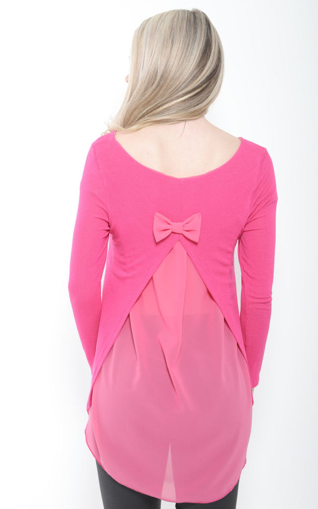 PINK OVERSIZED BOW BACK KNIT TOP by Aftershock London