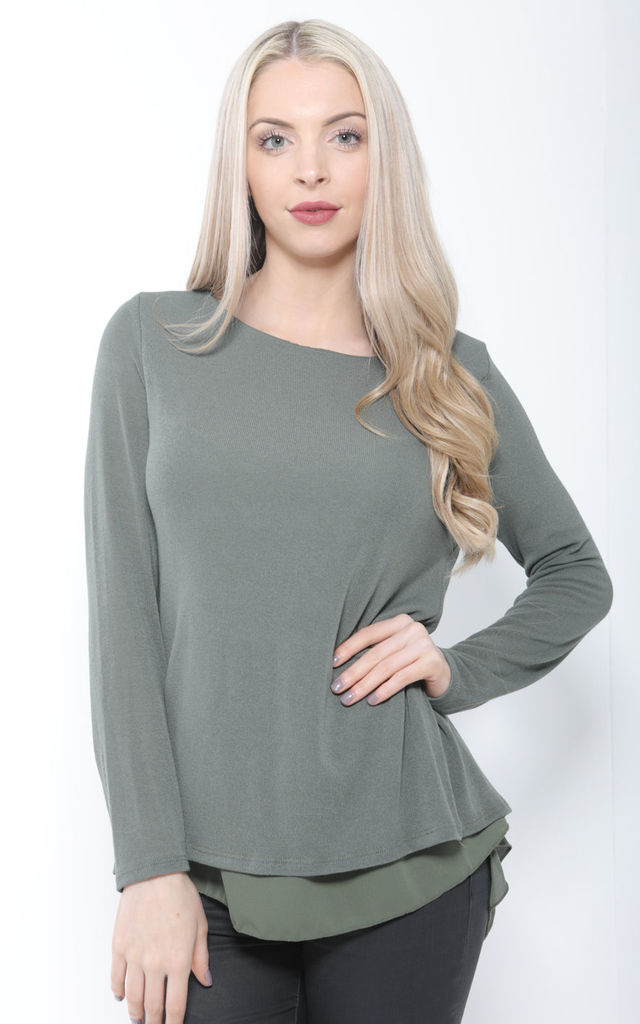 KHAKI OVERSIZED BOW BACK KNIT TOP by Aftershock London