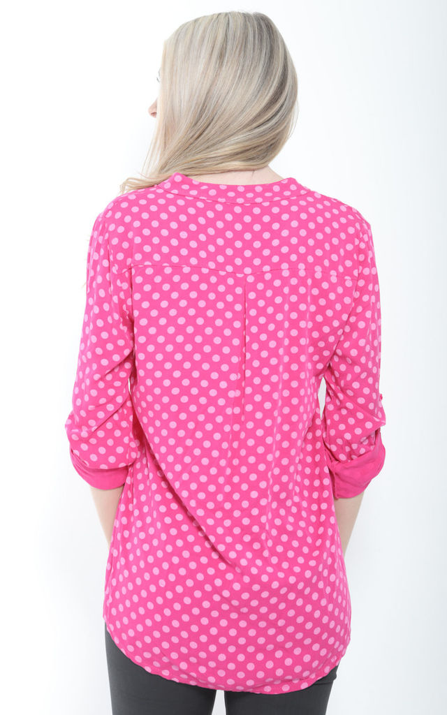 PINK OVERSIZED POLKA DOT BLOUSE by Aftershock London