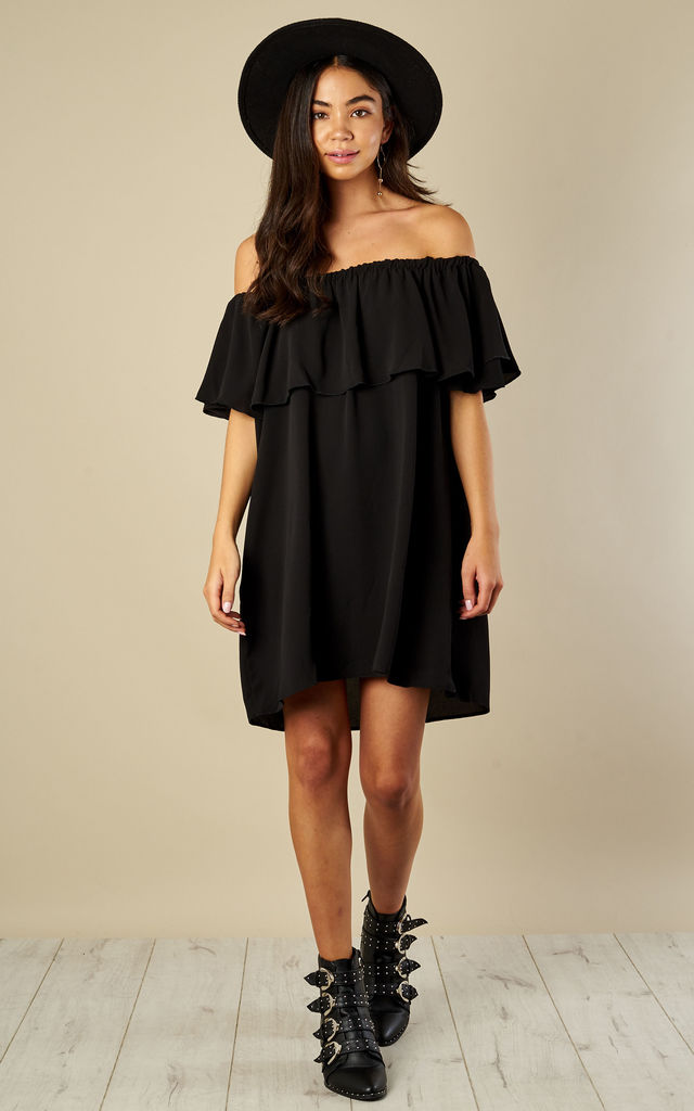 Black Off The Shoulder Mini Dress by Lilah Rose
