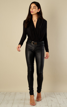 Black Wrap Over Long Sleeve Bodysuit by Bella and Blue Product photo