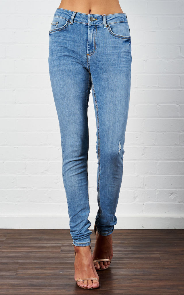 Light Blue Denim Mid Waist Skinny Jeans by Pieces