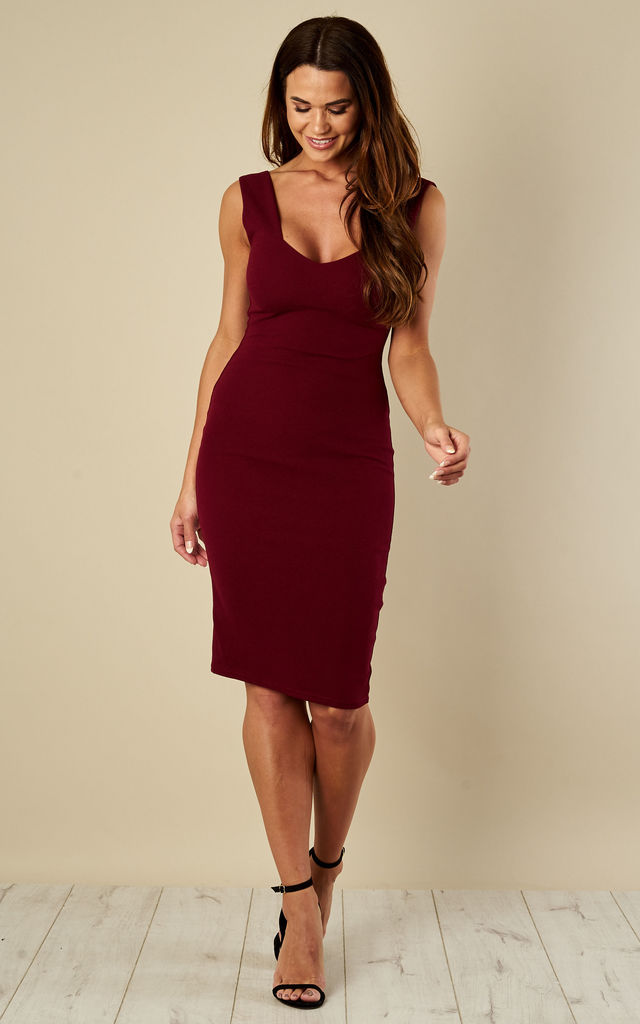 551f971da1a1c Wine Sweetheart Neckline Midi Dress | Luna | SilkFred
