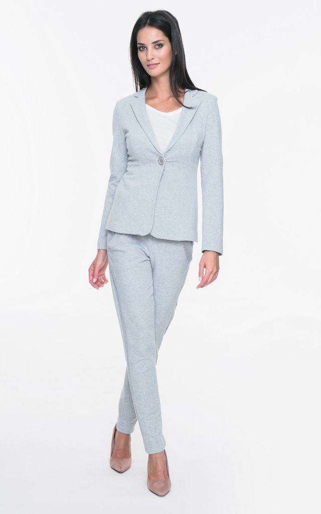 Grey one button blazer by MOSALI