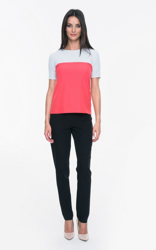 Pink two-colored airy blouse with short sleeves by MOSALI