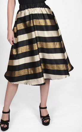 Striped Waisted Midi Skirt Gold Metallic by Amy Lynn