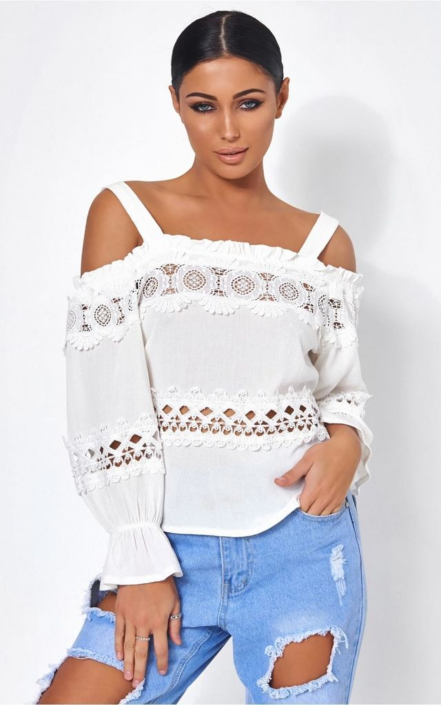 870e2ae2bec273 White Lace Trim Cold Shoulder Top by The Fashion Bible