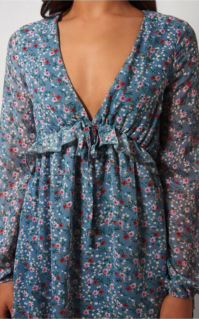 Eva Blue Floral Ruffle Dress by The Fashion Bible