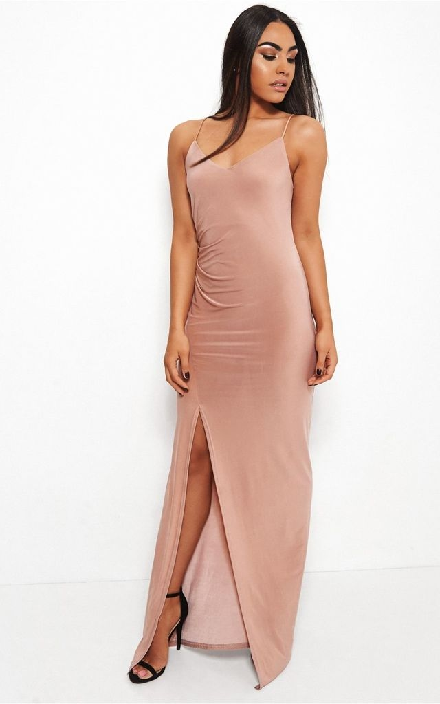 Cala High Split Nude Maxi Dress by The Fashion Bible