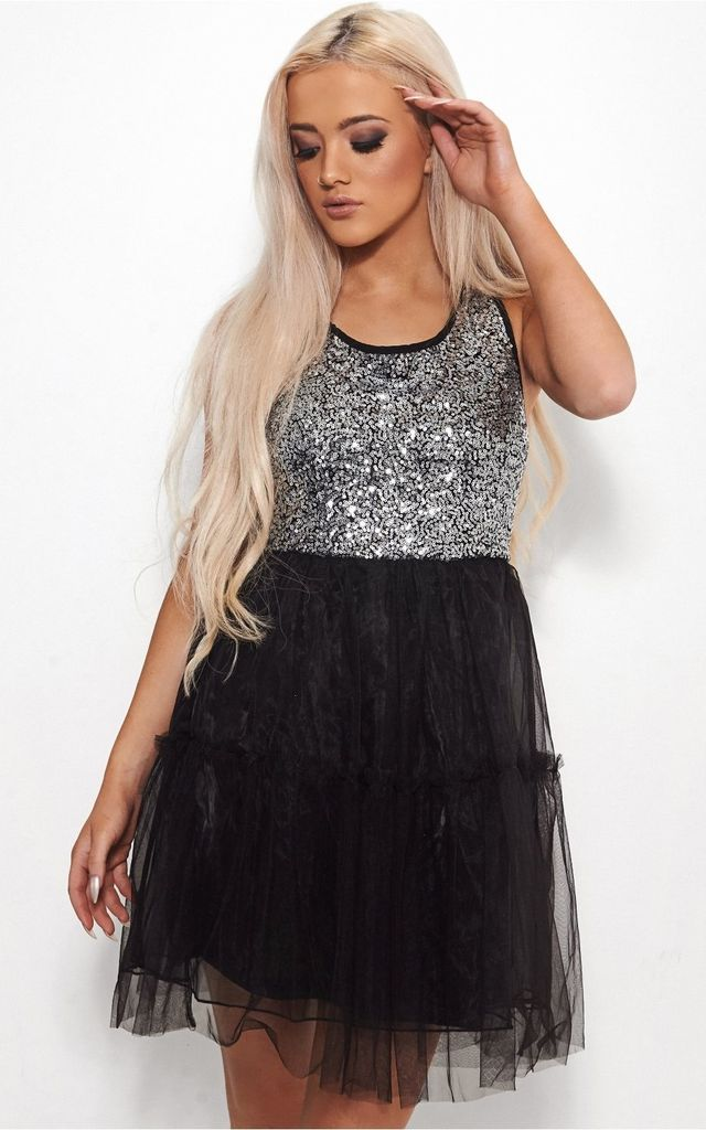 Cayden Silver Sequin Mini Dress by The Fashion Bible