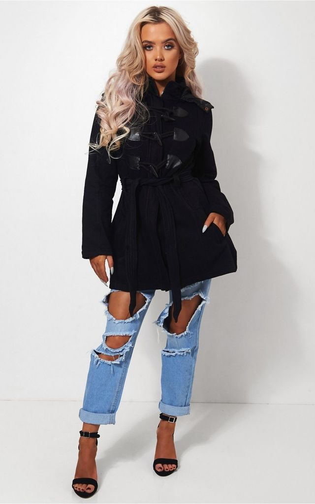 Black Toggle Duffle Style Coat by The Fashion Bible
