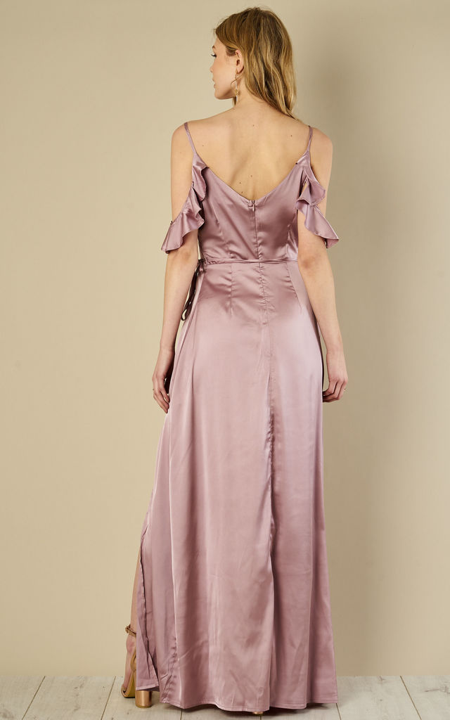 Dusty Lilac Frill Maxi Dress by Glamorous