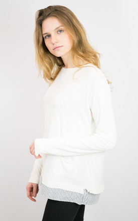 WHITE TOP WITH SPLIT BACK AND STRIPE SHIRT FABRIC ADD-ON by Lucy Sparks