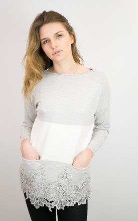 GREY/WHITE COLOUR BLOCK TOP WITH LACE HEM by Lucy Sparks