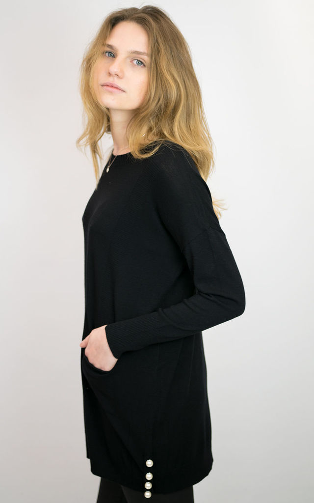 BLACK LONG TOP WITH PEARLS ON SIDE SPLITS by Lucy Sparks