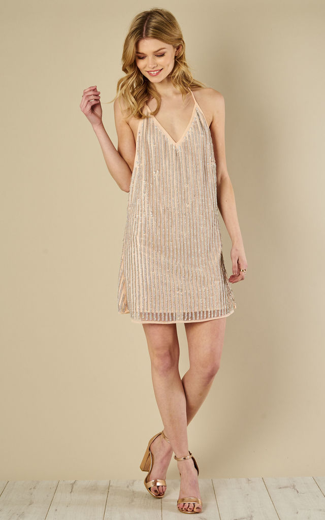 Nude sequin cami Dress by Glamorous