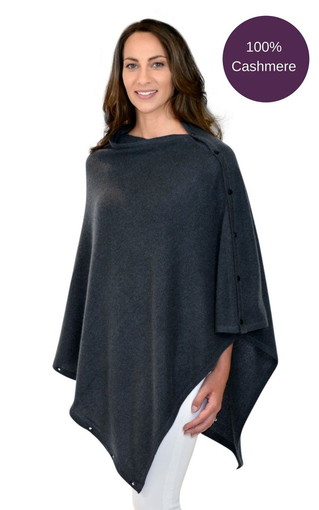 Charcoal Grey 100% Pure Cashmere Button Poncho Travel Wrap by Mimi & Thomas® cashmere & gifts