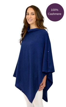 Navy blue pure cashmere poncho wrap shawl gift boxed by Mimi & Thomas® cashmere & leather