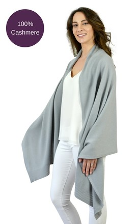 Grey 100% Pure Cashmere Travel Wrap Oversized Scarf by Mimi & Thomas® cashmere & gifts