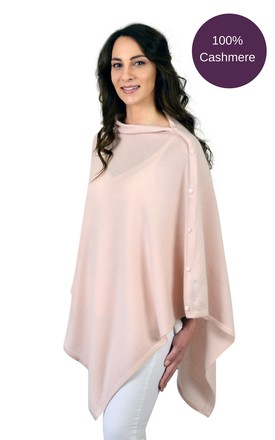 Powder Pink Pure Cashmere Button Poncho Wrap by Mimi & Thomas® cashmere & gifts