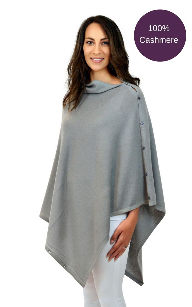 Grey 100% cashmere button poncho wrap scarf by Mimi & Thomas® cashmere & leather