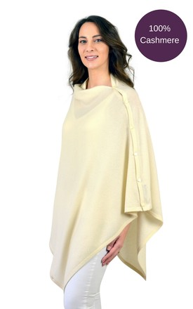Ivory Cashmere Button Poncho Travel Wrap by Mimi & Thomas® cashmere & leather