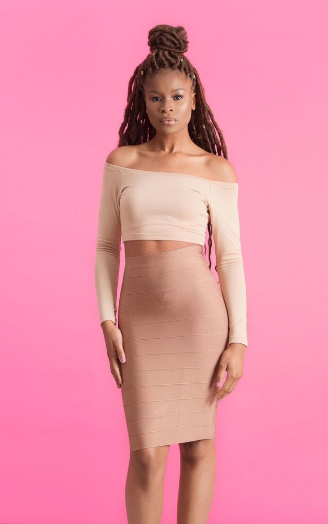 'Amina' Panel Nude Bandage Midi Skirt in Cafe au Lait by Shades of Mia Mina