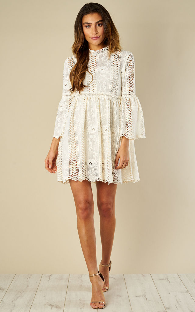 Crochet Lace Shift Long Sleeve Mini Dress Cream Amy Lynn Silkfred