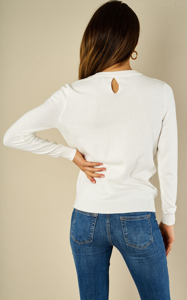 Flower Embellishment jumper Top White by Amy Lynn