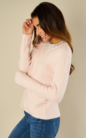 Crystal Embellished Knit Long Sleeve Jumper Top Pink by Amy Lynn
