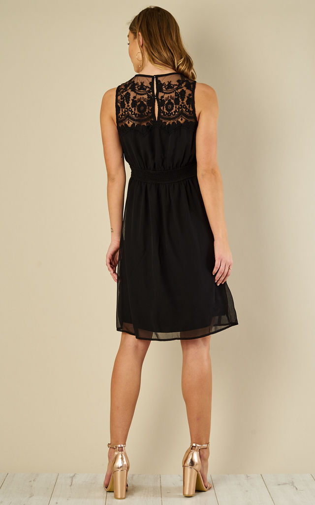 Black Lace Detail Sleeveless Dress by VM