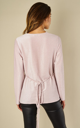 Lurex Wrap Cross Over Long Sleeve Top Pink by Amy Lynn