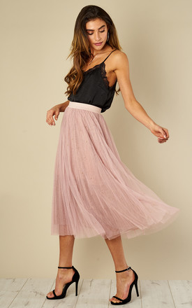 Pleated Mesh Tutu Midi Skirt Pink by Amy Lynn