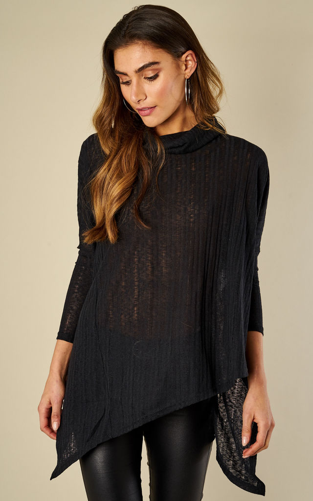 Black Roll Neck Oversized Knit by Bella and Blue