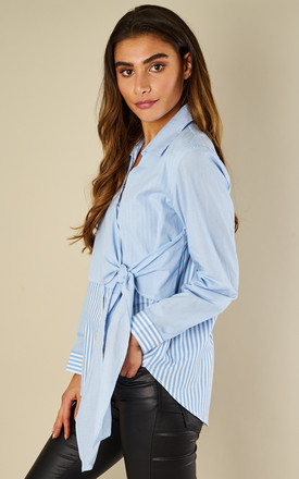Blue Contrast Pinstripe Asymmetric Tie Up Shirt by Lilah Rose