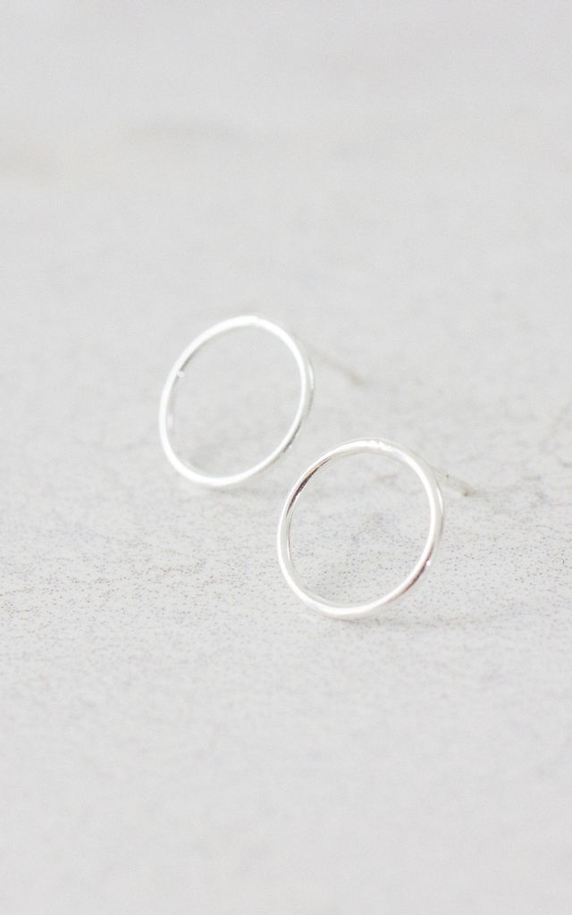 Sterling Silver Open Circle Stud Earrings By Fawn And Rose