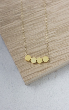 Brass Hexagon Necklace by Fawn And Rose