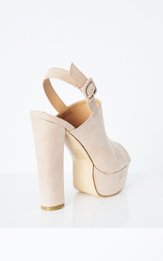 Nude Faux Suede Peep Toe Slingback Heels by Truffle Collection
