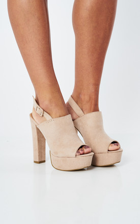 Nude Faux Suede Peep Toe Slingback Heels by Truffle Collection Product photo